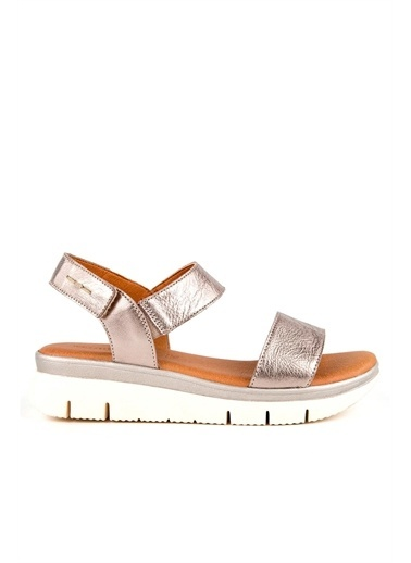 Muya Nami Anatomik Hakiki Deri Kadın Sandalet Gümüş